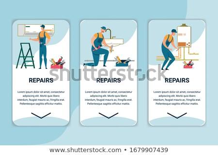 Conditioner reparatie vector mobiele app pagina Stockfoto © pikepicture