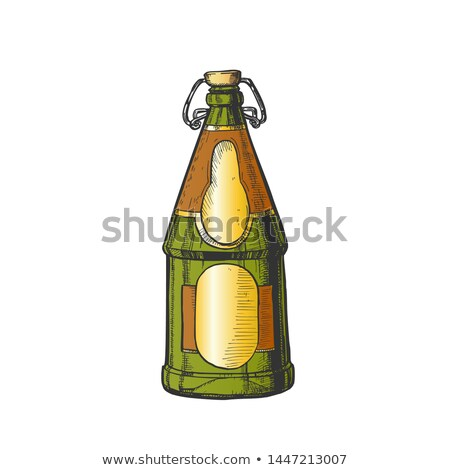 drawn blank beer bottle with bar stopper color vector stock photo © pikepicture