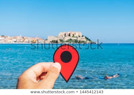 Piros jelző Korzika Franciaország közelkép kéz Stock fotó © nito