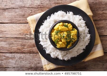 curry · tyúk · tál · beton · textúra · étel - stock fotó © nito