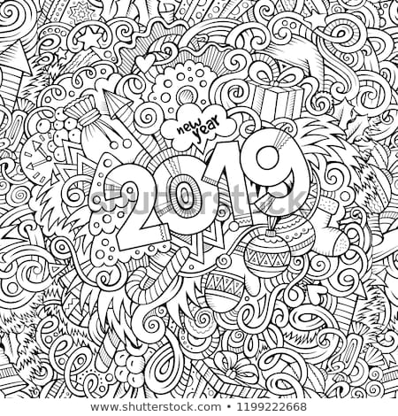 Karikatur Kritzeleien Neujahr Illustration Kontur Weihnachten Stock foto © balabolka