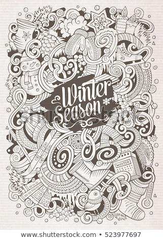 Karikatur Kritzeleien Winter Illustration Kontur kalten Stock foto © balabolka