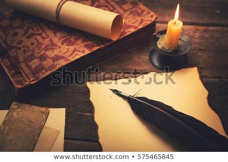 oud · papier · kaars · veer · papier · brand · kunst - stockfoto © mayboro