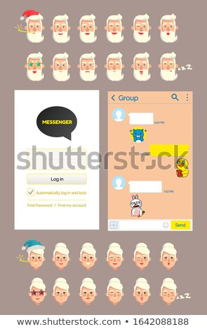 KakaoTalk Messenger with Grandfather Stickers Stock photo © robuart