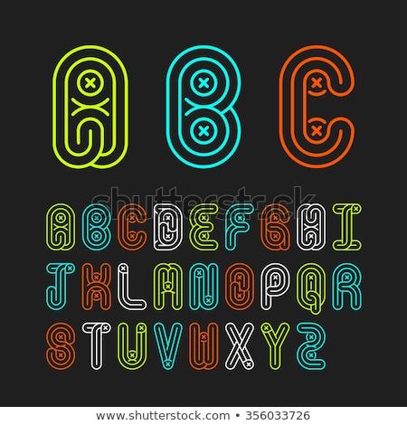 Linear geometric outline alphabet Letter L, Simple Logo Design, Blue graphic element for typography  Stock photo © kyryloff