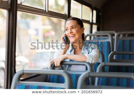 Foto stock: Belo · mulher · jovem · ônibus · trabalhar · mulher