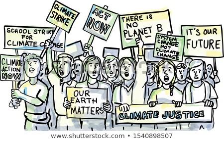 Fiatal diákok klímaváltozás vízfesték rajz illusztráció Stock fotó © patrimonio