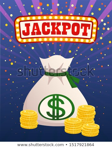 Jackpot Illuminated Sign, Money bag and Gold Coins Stock photo © robuart