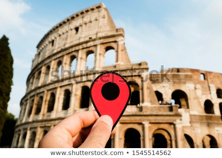 red marker at the Colosseum in Rome, Italy 
