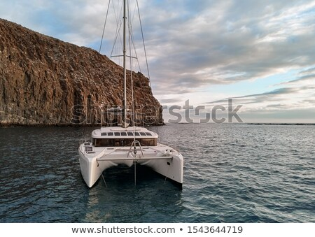 Rear view moored lonely modern catamaran in calm waters of Atlan Stock photo © amok