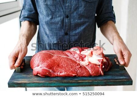 Friss marhahús borjúhús hús rusztikus fából készült Stock fotó © dariazu