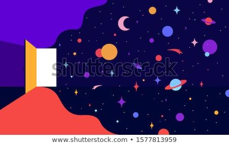 Abrir a porta universo sonhos moderno ilustração otimista Foto stock © FoxysGraphic