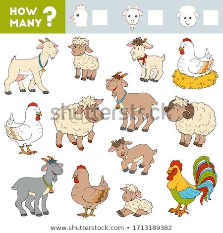 maths addition educational task with farm animals Stock photo © izakowski