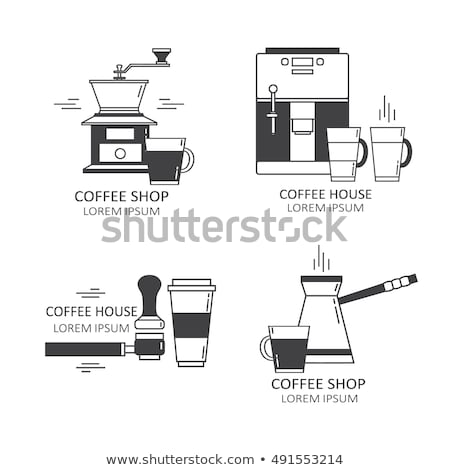 Coffee Machine, Holder And Cup Posters Set Vector Stock photo © pikepicture