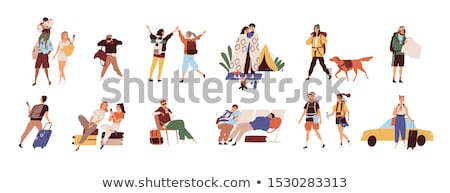 Friends Travelers with Baggage in Airport Vector Stock photo © robuart