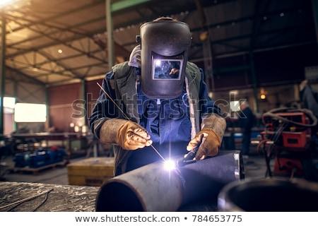Férfi hegesztő maszk fém műhely illusztráció Stock fotó © jossdiim