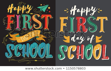 Back to school illustration with typography lettering set on chalkboard background. Vector education Stock photo © articular