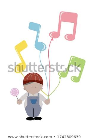 Rajz zenei hang tart felirat feketefehér illusztráció Stock fotó © bennerdesign