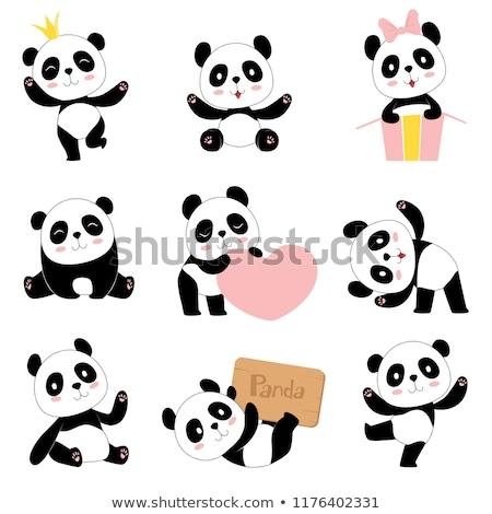 Cartoon felice panda isolato bianco arte Foto d'archivio © tigatelu