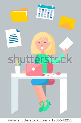 Office Work Blonde Secretary Working with Pages Stock photo © robuart