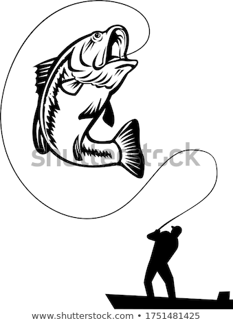 Largemouth Bass Jumping Up Retro Black and White Stock photo © patrimonio