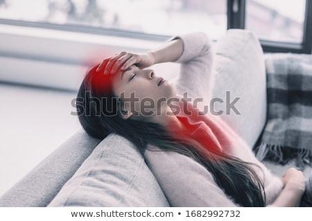 Koorts asian vrouw aanraken voorhoofd pijn Stockfoto © Maridav