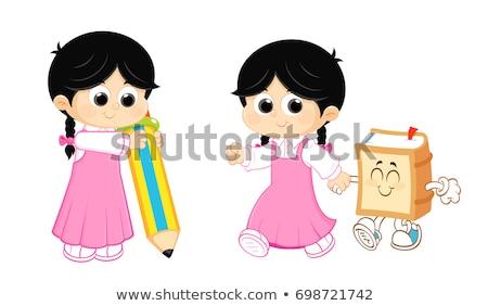 Muzułmanin · dziewczyna · nauki · powrót · do · szkoły · uśmiech · książki - zdjęcia stock © zurijeta