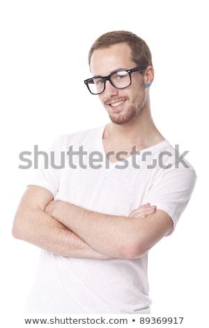 Di bell'aspetto uomo retro nerd occhiali sorridere Foto d'archivio © adamr