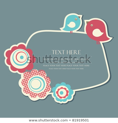Stock fotó: Two Cute Birds And A Flower On Beige Background Illustration