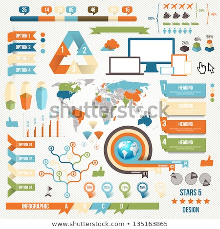 blue vector retro vintage set of infographic elements stock photo © orson