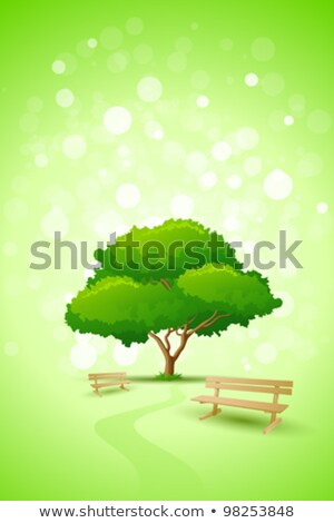 Abstract Green Tree Background with Bench Stock photo © WaD