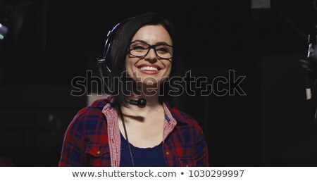Brunette microfoon haren concert lippen fase Stockfoto © photography33