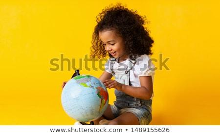Stockfoto: Meisje · wereldbol · liefde · student · wereld