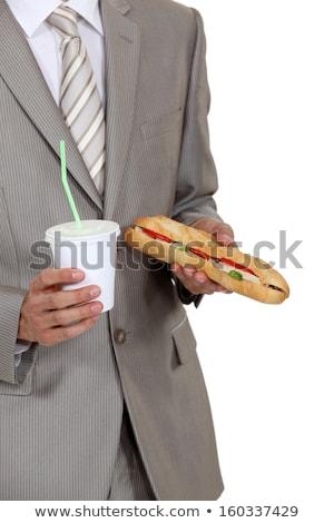 üzletember tart szendvics üdítőital arc boldog Stock fotó © photography33