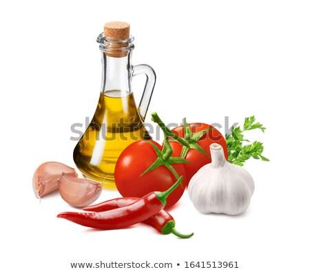 Salsa olívaolaj gyógynövények üveg mártás csónak Stock fotó © zhekos
