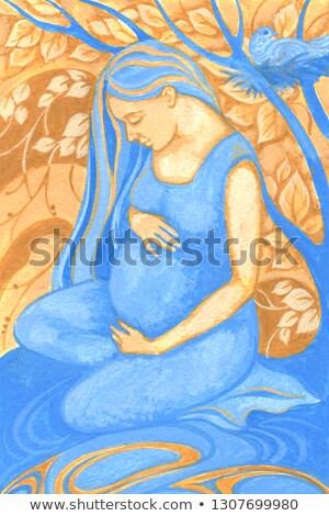 Zwangere vrouw schilderij foto zwangere vrouwelijke muur Stockfoto © sumners