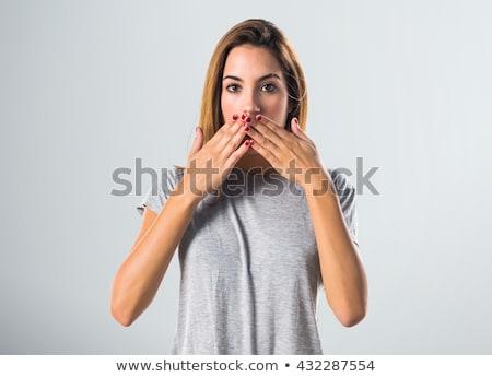 megrémült · szőke · nő · vicces · arc · szürke · lány - stock fotó © photography33