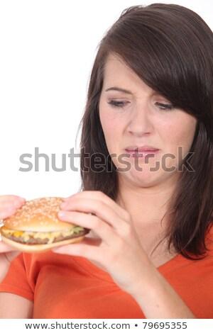 женщину чизбургер сыра студию футболку Сток-фото © photography33
