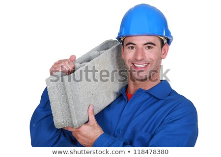 Artisan with concrete block on shoulder Stock photo © photography33
