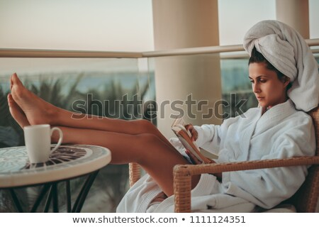 girl luxuriates in the bathroom stock photo © urchenkojulia