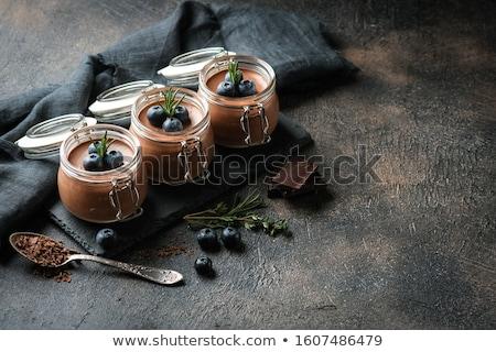 Chocolademousse ei beker chocolade dessert vakantie Stockfoto © M-studio