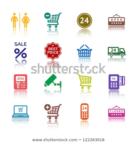 set pictograms shopping icons color with reflection stock photo © ecelop