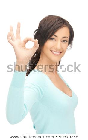 привлекательный · улыбаясь · подростку · вызывать · знак - Сток-фото © dolgachov
