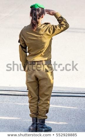 çekici · kız · asker · silahlar · yalıtılmış · beyaz · kadın - stok fotoğraf © grafvision