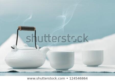 teáscsészék · teáskanna · felső · kilátás · űr · ital - stock fotó © hasloo