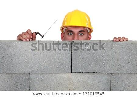 Murarz ściany domu człowiek budowy oczy Zdjęcia stock © photography33