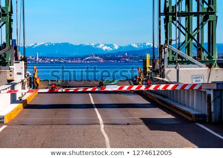 Bainbridge Island Ferry Dock Gate Puget Sound Seattle Cascade Mo Stock photo © billperry