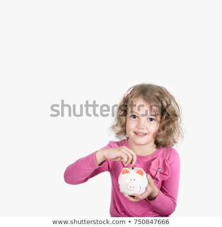 девочку · Piggy · Bank · монеты · фотография · девушки · очки - Сток-фото © lunamarina