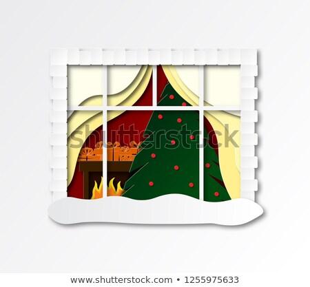 starych · okno · zimą · pełny · śniegu · szkła - zdjęcia stock © anterovium
