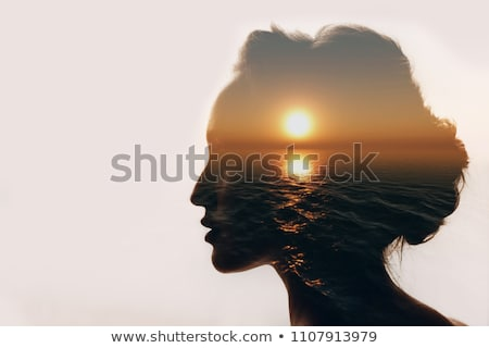 профиль голову замочную скважину синий головоломки человека Сток-фото © tashatuvango